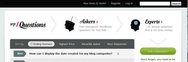 WPQuestions A Paid Problem Solving Site For Wordpress